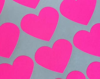 GLAM SALE Large Neon Pink Heart Stickers, Party Favor Stickers, Wedding Favor Stickers (30)