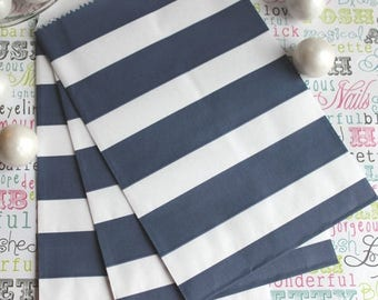 GLAM SALE 75 Navy Sailor Stripe Favor Bags - Navy Wedding Candy Bags - Nautical Favor Bags - Popcorn Bags - Nautical Baby Shower - Rugby Tre