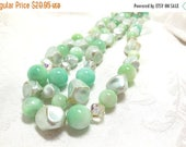 "SALE Necklace Minty Green Beaded Pearly Moonglow Nuggets AB Crystals 40""  Fab 60s"