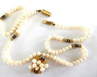 Cultured Pearl Necklace Vintage Pendant Enamel & gold filigree Victorian Revival Elegant