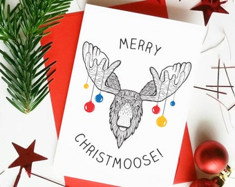 Funny Christmas Card | Christmas Puns | Funny Moose Card | Baubles