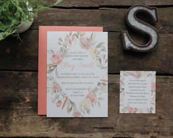 Baby Girl Shower Invitation | Watercolor Floral Invitation | Rustic Invite | Baby Shower Announcement | Elegant, Boho Coral, Gold, Cream
