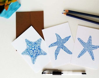 Summer Gifts - Starfish Notecards, Beach Art, Set of Nine