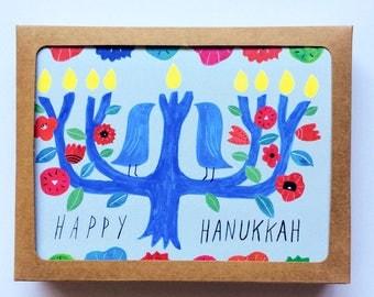 Set of 8 - Hanukkah Card Set, NonTraditional Holiday Card, Menorah Tree, Handmade Hanukkah Card, Watercolor Greeting Card, 4.25 x 5.5