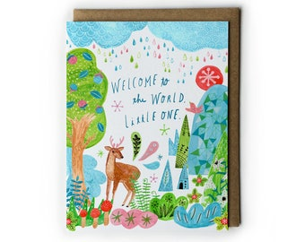 Baby Shower Card, Watercolor Greeting Card, Welcome to the World, Mixed Media Painting, Woodland Art, Deer Illustration, A2, Forest & Trees