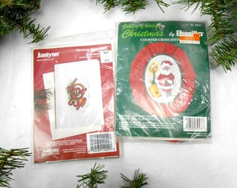 Vintage Christmas stitchery kits Bucilla 1987 Janlynn 1994 new old stock cross stitch kits Christmas cross stitch