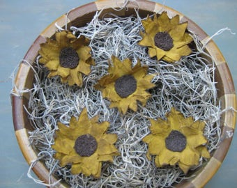 Primitive Sunflower Bowl Fillers - Set of  5 - Country Primitive - Grungy Fabric Small Sunflowers - Mini Bowl Fillers - Spring/Summer/Fall
