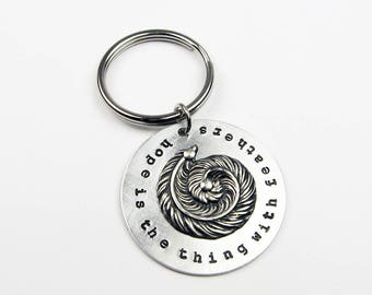 Hope Keychain - Hope Is The Thing With Feathers - Inspirational Quote by American Poet Emily Dickinson