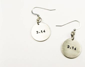 Pi Earrings - Mathematical Jewelry with 3.14 Number - Geekery for the Math Nerd or Math Teacher on Pi Day (March 14)