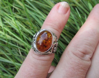 Very Beautiful Baltic Amber Ring Size 5.5 US, 925 Silver