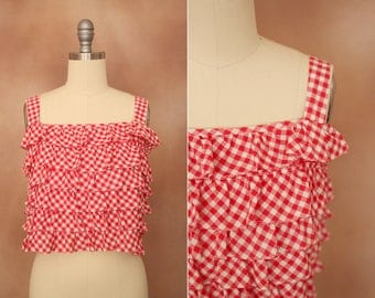 vintage 1970's red & white tiered gingham cotton crop top / size s - m