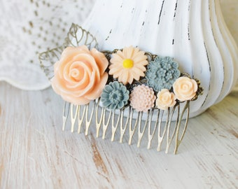Peach Wedding Hair Piece - Wedding Hair Comb - Blue Bridal Hair Comb - Peach Wedding Hair Accessories - Flower Hair Comb - Floral Hair Comb