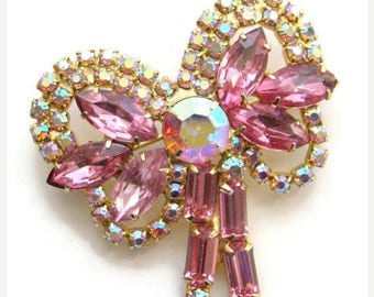 ON SALE Vintage Pink Rhinestone Bow Pin Brooch Aurora Borealis Pretty Unsigned