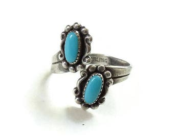 Vintage Native American Turquoise By Pass Ring Size 5 Marked Sterling