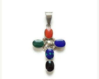 ON SALE Taxco Multi Gemstone Sterling Silver Religious Cross Pendant Necklace Hallmarked 925 Mexico