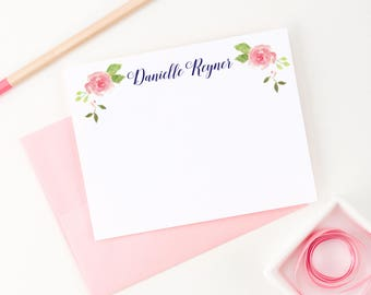 Personalized Floral Stationery Set, Personalized note cards, Personalized Thank you note cards, Personalized Flower Stationary set, PS054
