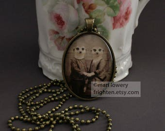 Meerkat Art Necklace, Romantic Jewelry, Animal Pendant with Long Chain and Box, Valentine's Day Gift, frighten