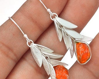 """IDEAL COLOR Mexican Fire Opal dangle Earrings. Solid Sterling Silver. 1 3/4"""" long. 6328"""