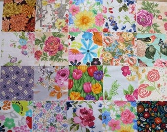 Precut fabric squares, Destash Fabric Sale, 5 inch squares of Floral fabric, Charm pack, Vintage inspired Pre Cuts