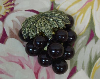 Antique Dress Clip c. 1920's-30's Bunch of Grapes with Brass Clip Arty & Fabulous