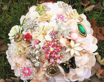 Vintage Brooch Bouquet,Pink Green Wedding Bouquet, Deposit only