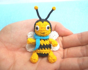 Mini Crochet Bee Doll  - Miniature Bee Stuffed Animals - Made To Order