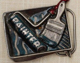 Painter Belt Buckle Enamel Blue Pewter Great American Buckle Co 1982 Vintage Belt Buckle 7Q