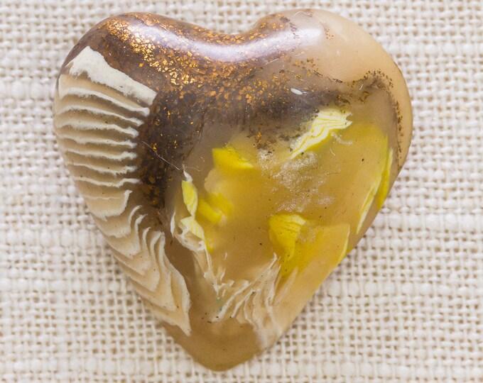 Yellow Copper Heart Brooch Vintage Bronze Glittery Brown White Plastic Broach Vtg Pin 7JJ