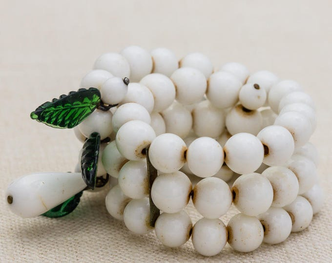 White Bead Triple Strand Green Leaves Vintage Bracelet Bangle Costume Jewelry Cuff 7AR