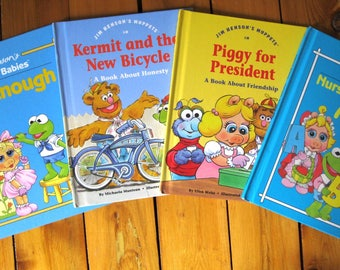 Jim Henson's Muppet Babies Books/Piggy For President/Big Enough/Kermit and the New Bicycle/Nursery Rhymes ABC/ Hardcover
