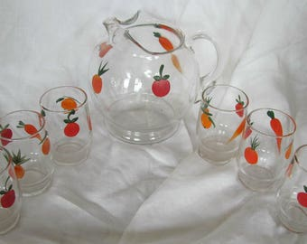 1950s Juice Set, Pitcher &  Glasses, Fruits and Vegetables, Mid Century Kitchen