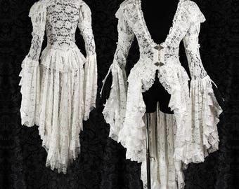 Waistcoat Nimbata ivory, lace cardigan, elven wedding, victorian, fantasy, sample pre-sale, size S, Somnia Romantica by Marjolein Turin
