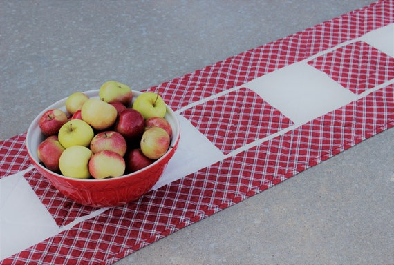 Red Plaid Quilted Table Runner
