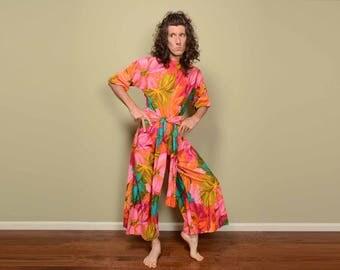 vintage jumpsuit 60s 70s vintage jumper floral playsuit wide leg flare bellbottom handmade homemade romper romphim M/L