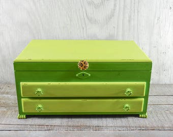 Large jewelry box with leopard print lining, jewelry holder, jewelry organizer, wooden, shabby chic