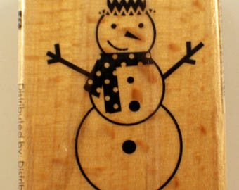 Snowman With A Scarf Hampton Art Studio G Wooden Rubber Stamp