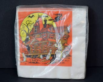 Vintage Halloween Paper Napkins 18 Count Haunted House Ghosts Witch Bats Moon Party Creation Tuttle Press NOS New in Package