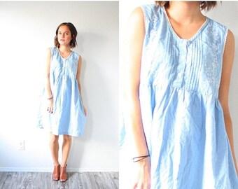 20% OFF JULY 4th SALE Vintage blue nightgown romper dress // oversized romper // simple nighty romper // floral romper dress // light blue r