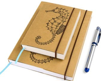 Seahorse (Small), Journal, Notebook, Sketchbook, Personal agenda, Travel Journal, Diary, Calendar, Hardcover, Unique gift, Artistic