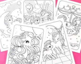 Unicorn Friends A5 Colouring Pages
