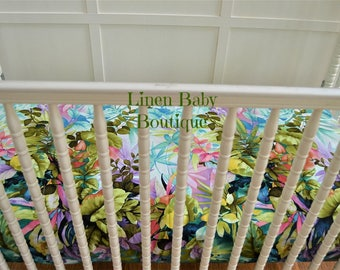 Tropical Toddler Bedding or Baby Bedding, Crib Bedding. 2 Pieces. Tropical Watercolor Fitted Sheet and Linen Stripe Blanket. Ready to Ship!