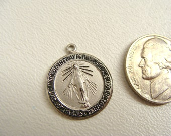 Chapel Miraculous Medal. vintage. Sterling Silver Filled. Radiant Blessed Virgin Mary. Catholic Pendant. Religious Holy Charm. Pray For Us