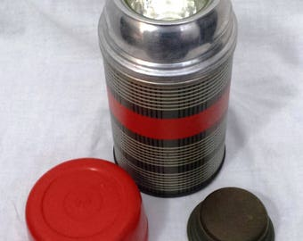 Classic Vintage Alladin Red, Black Gray Plaid METAL Thermos with Cup, Cap & Glass Liner