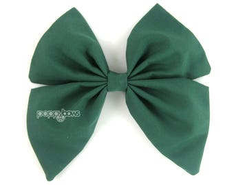 Hunter Green Hair Bow, girls hair bow, Dark green hair bow, sailor hair bow, School Christmas big hair bow, large hair bow, cotton bs5-dkg