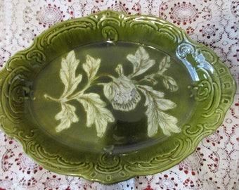 Imperial Bonn Germany Pottery Platter Majolica Floral Design Olive Green- FL