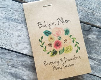 RUSTIC Sunflowers Baby Shower Favors Floral Spray Bouquet Baby In Bloom  Flower Seed Packets Favor For