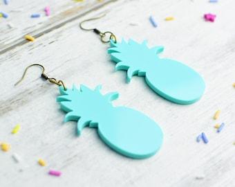 Pineapple Statement Earrings in Mint Green | Nickel Free Dangle Earrings | Pastel Jewellery | Pineapple Gift