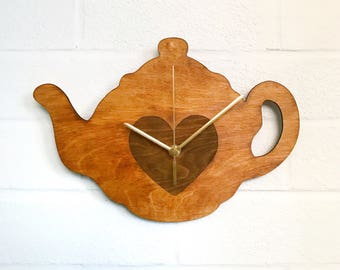 Teapot Clock | Tea Clock | Tea Lover Gift | Handmade Wooden Clock | Hand Painted Kitchen Clock | Gifts For Her
