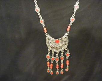 Vintage Silver and Orange MEDALLION NECKLACE