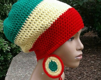 MADE TO ORDER Red Yellow and Emerald Green Slouch Hat/ dreadlock with drawstring /free matching crochet earrings Rasta Colors